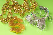 stock photo of gangster necklace  - gangster rapper gawdy costume jewelry - JPG