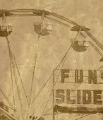 Old fashioned ferris wheel at carnival with grunge overlay