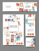 Set Of Promotional Flyers With Abstract Geometric Elements. Different Sizes poster