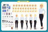 Set Of Businesswoman Character Design.front, Side, Back View Animated Character.business Girl Charac poster
