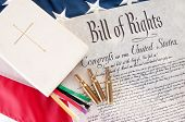 stock photo of bill-of-rights  - United States Bill of Rights by Bible and bullets - JPG