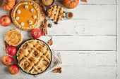 Thanksgiving Pumpkin And Apple Various Pies poster