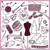 set icons sewing and needlework (doodle)