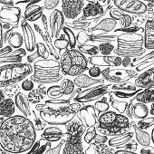 pic of long-fish  - Seamless food doodle pattern - JPG