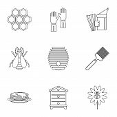 Honey Production Icons Set. Outline Illustration Of 9 Honey Production Icons For Web poster