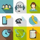 Online Consultation Icons Set. Flat Illustration Of 9 Online Consultation Icons For Web poster