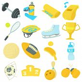 Sport Items Icons Set. Cartoon Illustration Of 16 Sport Items Icons For Web poster