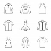 Clothing For Body Icons Set. Outline Illustration Of 9 Clothing For Body Icons For Web poster