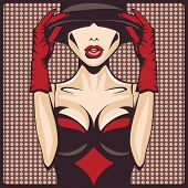 gloves, hat and corset woman, vector