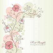 pic of primite  - spring design with flowers and a singing bird - JPG