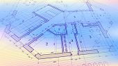 Architectural plan - abstract architectural blueprint of a modern residential building / technology, poster