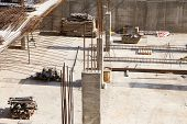 Foundation Construction Building Site Making Reinforcement Metal Framework For Pouring Concrete. Met poster