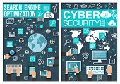 Search Engine Optimization Or Seo And Internet Cyber Security Poster. Vector Design Of Online Techno poster