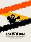 Movie And Film Festival Poster Template Design Modern Retro Vintage Style. Can Be Used For Backgroun poster