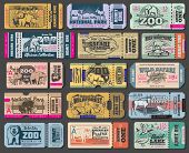 Zoo Tickets For Zoological Park. Vector Vintage Admit Ticket Design Of Wild Bear, Wolf Or Duck And W poster