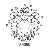 Angry Line Icon. Angry Man In Linear Style. Vector Illustration poster
