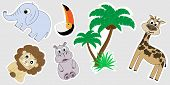 A Set Of Africa Stickers. Stickers For Children Are A Lion, A Hippopotamus, A Palm Tree, An Elephant poster