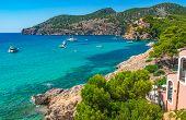 Bay With Yachts Boats At Coastline Of Camp De Mar, Idyllic Bay Of Mallorca, Spain Mediterranean Sea poster