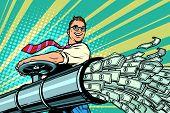 Businessman Opens Pipe, Money Finance Dollars Flow. Pop Art Retro Vector Illustration Kitsch Vintage poster
