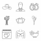 Life Companion Icons Set. Outline Set Of 9 Life Companion Icons For Web Isolated On White Background poster