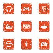 Modern Automobile Icons Set. Grunge Set Of 9 Modern Automobile Icons For Web Isolated On White Backg poster