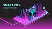 Smart City Technology. Intelligent Buildings In Future City. Isometric 3d Vector Banner. Illustratio poster