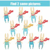 Find The Same Pictures Children Educational Game. Find Two Identical Rabbits poster