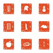 Vitamin Boom Icons Set. Grunge Set Of 9 Vitamin Boom Icons For Web Isolated On White Background poster