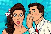 Man Whispering Gossip Or Secret To His Girlfriend Or Wife. Colorful Illustration In Pop Art Retro Co poster