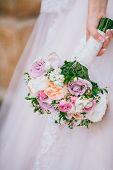 Closeup Shot Of Elegant, Brunette Bride Posing Under Veil Closeup. Bride Portrait Wedding Makeup Fas poster