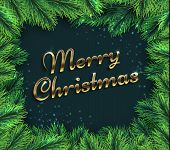 Fir Tree Branches. Merry Christmas Glamour Background With Pine Branch And Greetings Text. Happy New poster