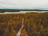 Finland, Road Through The Forest In Northern Finland To The Lake poster