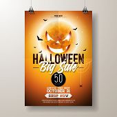 Halloween Sale Vector Flyer Illustration With Scary Faced Moon And Flying Bats On Orange Background. poster