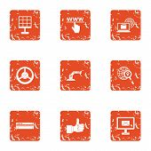 Web Perfect Icons Set. Grunge Set Of 9 Web Perfect Icons For Web Isolated On White Background poster