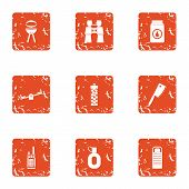 Outside Bbq Icons Set. Grunge Set Of 9 Outside Bbq Icons For Web Isolated On White Background poster