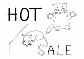 Smart Cat Will Not Miss Its Chance To Catch The Mouse By The Tail On A Hot Sale. Humor poster