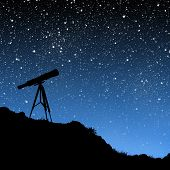 image of billion  - silhouette of a telescope under a night sky full of stars - JPG