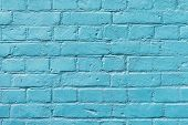 Painted Brick Surface Close-up With Celestial Color Of Paint. Colorful Grunge Texture Of Wall. Abstr poster