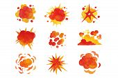 Explosions Set, Fire Explosion Effect Watercolor Vector Illustrations poster