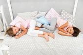 Good Night And Sweet Dreams. Girls Fall Asleep After Pajamas Party In Bedroom. Girls Have Healthy Sl poster