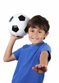 Younf Happy Boy With Soccer Ball