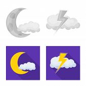 Vector Illustration Of Weather And Weather Logo. Set Of Weather And Application Vector Icon For Stoc poster