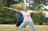 Senior couple doing sport and physical exercises outdoor. Active senior man and elderly woman doing  poster