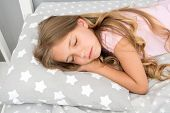 Sweet Dreams. Girl Child Long Hair Fall Asleep Close Up. Quality Of Sleep Depends On Many Factors. C poster