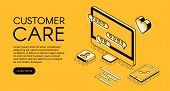 Customer Care And Online Service Vector Illustration. Call Center Assistant Or Business Company Mana poster