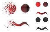 Worried Smiley Icon In Dispersed, Pixelated Halftone And Undamaged Whole Versions. Pixels Are Arrang poster