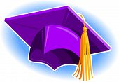 stock photo of graduation cap  - Purple Graduation Cap - JPG