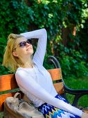 Woman Blonde With Sunglasses Dream About Vacation, Take Break Relaxing In Park. Dream Vacation. Lady poster