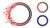 Dotted Rosette Circular Frame Icon In Dispersed, Dotted Halftone And Undamaged Whole Versions. Parti poster