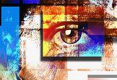 Surreal digital art. Humans eye. Mondrian style. 3D rendering poster